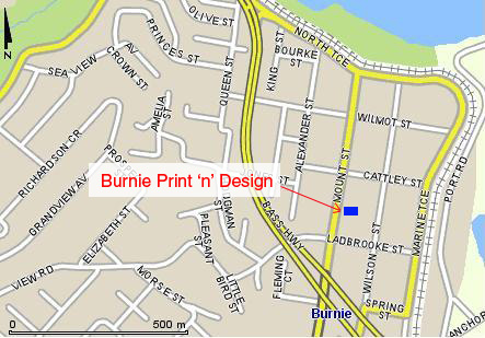 Location of Burnie Print 'n' Design